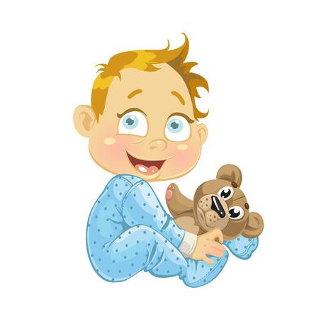 pl�schtier: Jungen mit einem Stofftier B�r Illustration