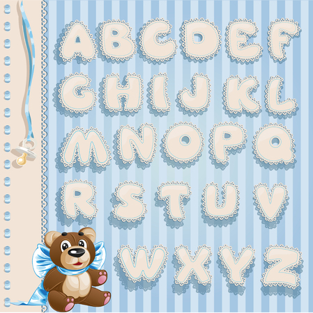 ruffles: Newborn boy openwork lace font for your announcement text