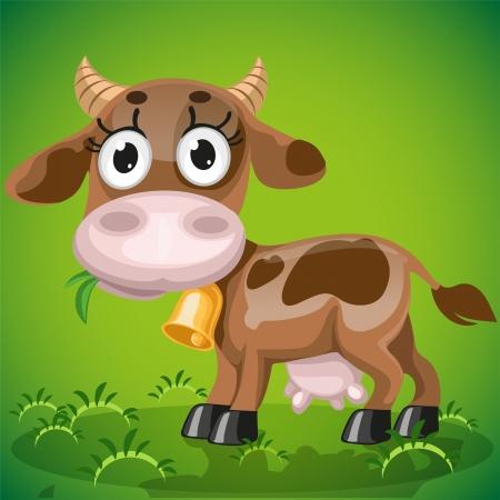 Lindo beb� vaca masticando la hierba jugosa