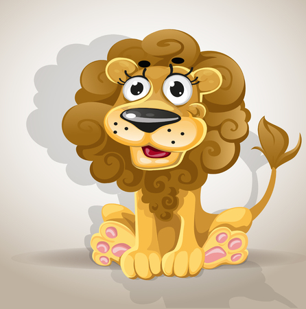 Cute cartoon character lion Vector