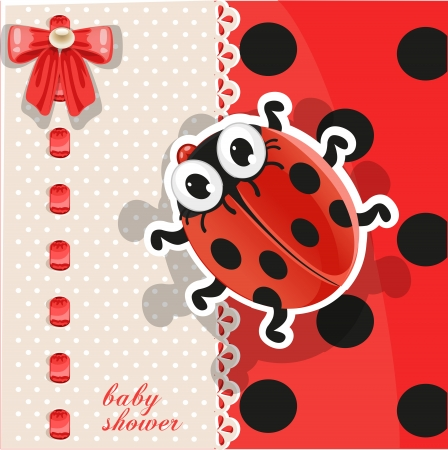 Delicate red baby shower card with cute cartoon ladybug Vector