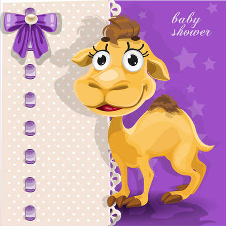 Delicate baby shower card with cute baby camel Vector