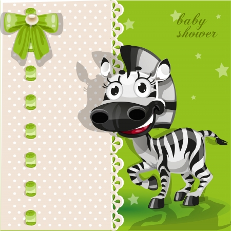 delicate: Delicate green baby shower card with zebra Illustration