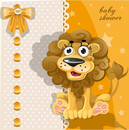 baby background: Yellow baby shower card with cute cartoon lion