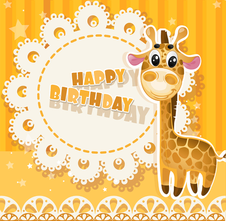 birthday boy: Happy Birthday yellow openwork card for your greetings Illustration