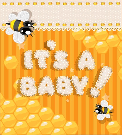 baby announcement card: It`s a baby - yellow honey announcement card