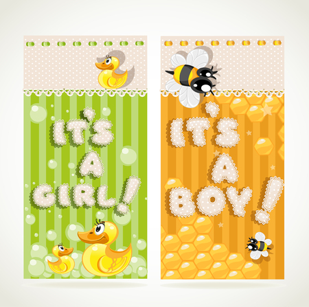 Yellow It`s a boy and green it`s a girl vertical banners set 1 Vector