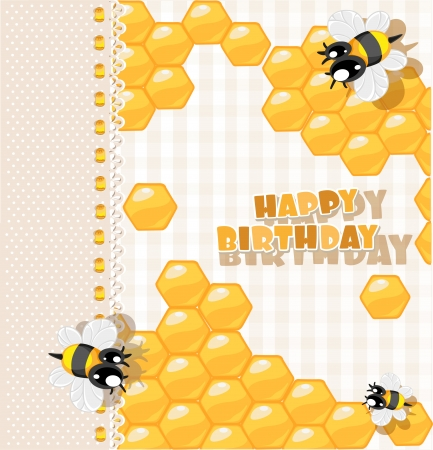 So Sweet Birthday Card With Bees And Honey For Your Greetings