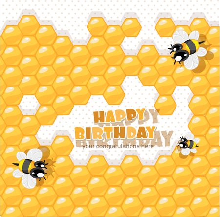 So sweet Birthday - card with bees and honey for your congratulations Vector