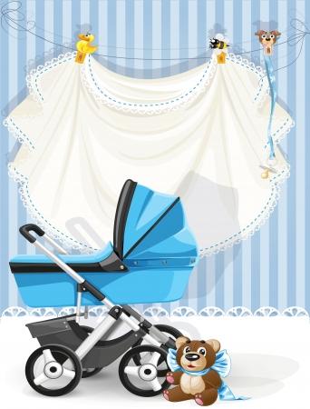 嬰兒: 嬰兒沐浴藍卡 向量圖像