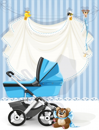 babies with toys: Baby shower blue card