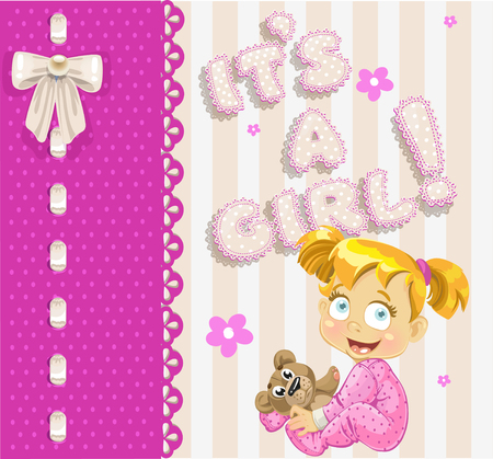 bee birthday party: It`s a girl - openwork card for your announcement card
