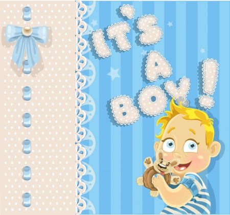 It`s a boy blue openwork card for your announcement card    Vector