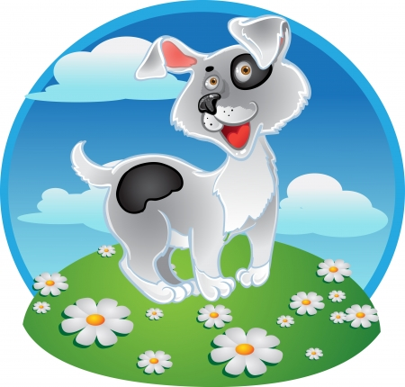 dog toy: Fun white dog on a color background Illustration