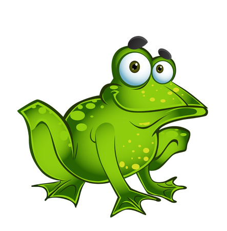 vector happy green frog Illustration
