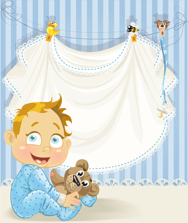 baby boy blue openwork announcement card with baby character Vector