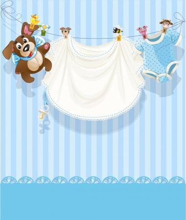 아기 파란색 투각 발표 카드