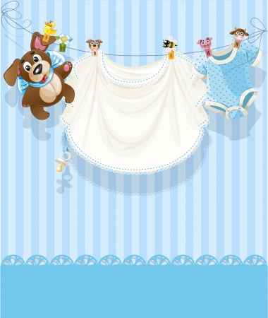 clothes pegs: baby boy blue openwork announcement card
