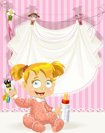 bee birthday party: baby girl pink openwork announcement card with girl and bottle of milk