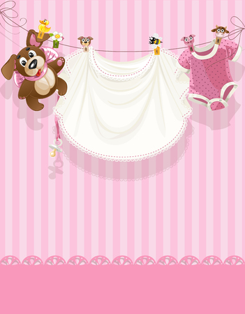 nipple: baby girl pink openwork announcement card