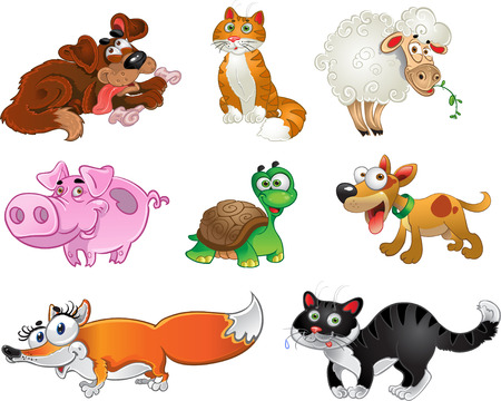 cartoon forest: Bis set of funny pig, dogs, cats, sheep, tortoise and fox