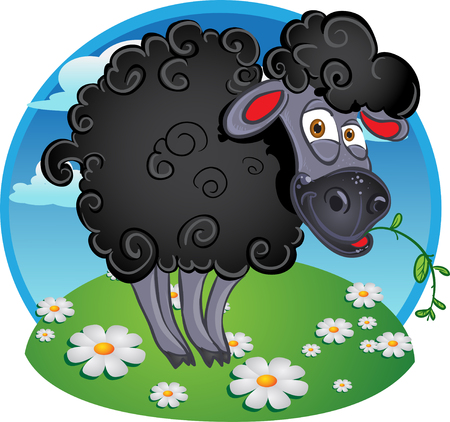 bleating: Black dark sheep with blade of grass on color background