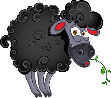 Black dark sheep with blade of grass Vector