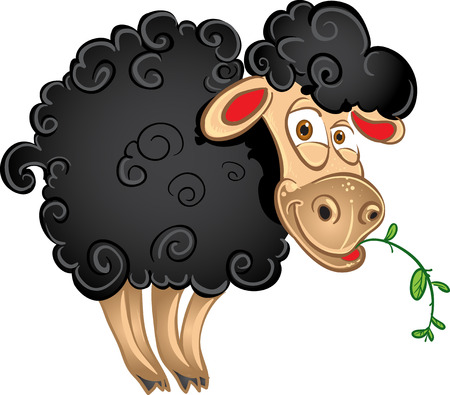 cartoon sheep: Black sheep with blade of grass Illustration