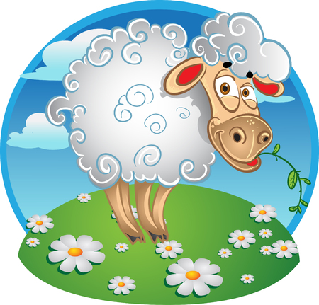 Bright sheep with blade of grass on color background Vector