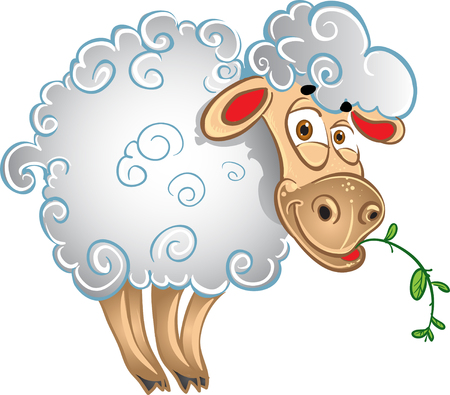 Bright sheep with blade of grass Vector