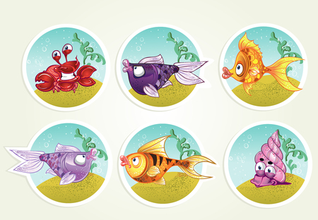 collection of marine life - fish, crab, snail Vector