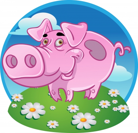 idiot: Funny pink pig on color background