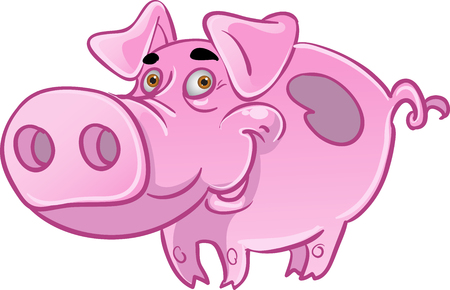 Funny pink pig Vector