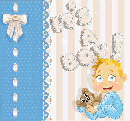 bee birthday party: It`s a boy - blue lovely announcement card