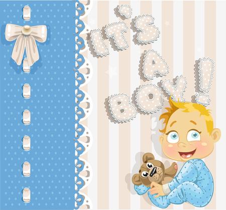 its a boy: It`s a boy - blue lovely announcement card