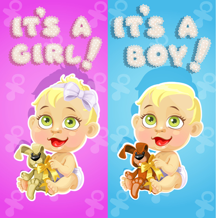 neonatal: It`s a boy and it`s a girl announcement card with cute babies