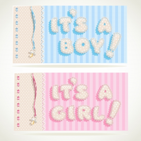 its a boy: It`s a boy and it`s a girl banners Illustration