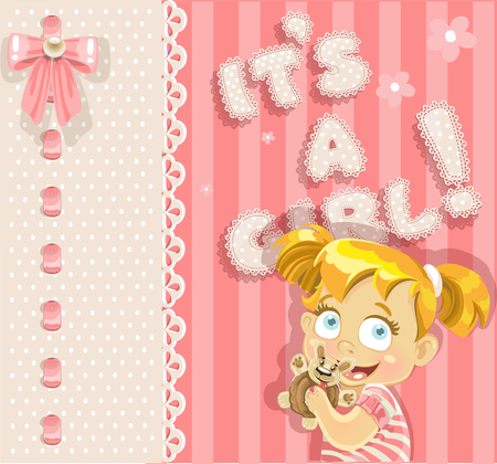 It`s a girl - pink lovely announcement card Vector