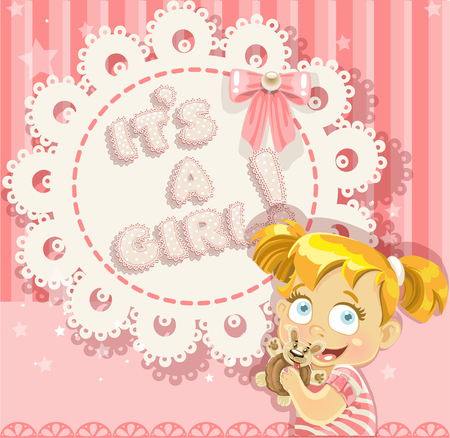 It`s a girl pink openwork card for your announcement card Vector