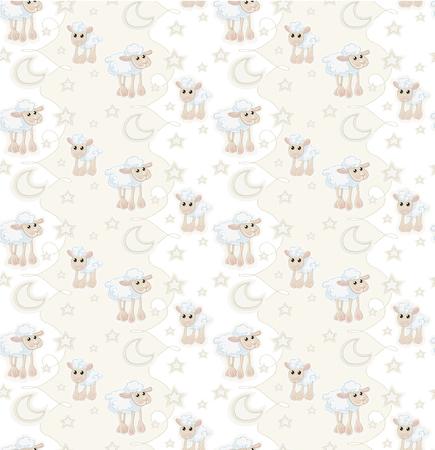 Seamless pattern with cartoon sleepy baby sheep, stars and moon Vector