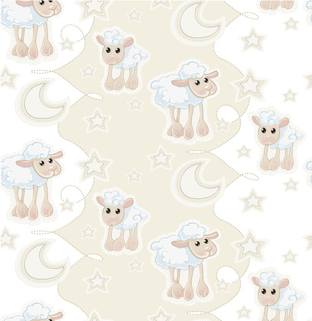 Seamless pattern with cartoon sleepy baby sheep, stars and moon Vector