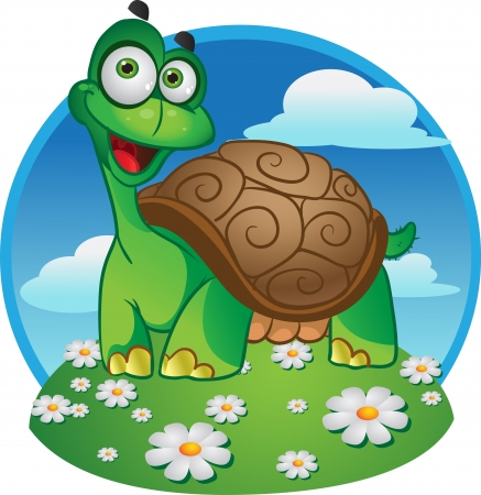 minor: Smiling fun vector tortoise on a color background