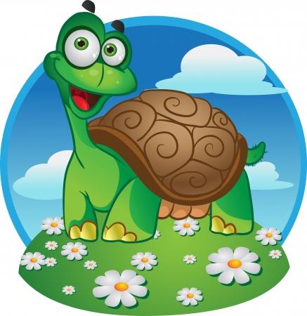 Sonriendo divertido tortuga vector sobre un fondo de color