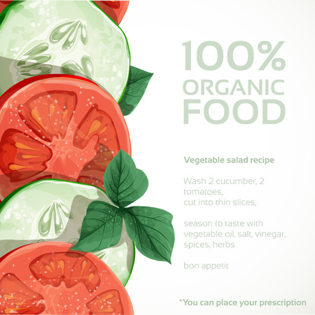 Banner with fresh vegetables tomatoes and cucumbers to place your prescription Vector