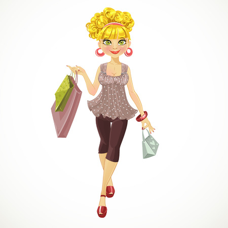 beautiful girl with shopping bags Vector