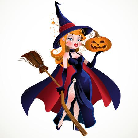vector beautiful witch in cloak with a pumpkin