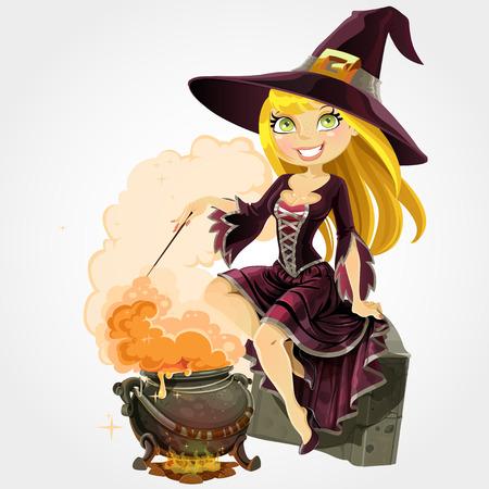Schöne Hexe sitzt auf dem Grabstein mit Kessel Zaubertrank