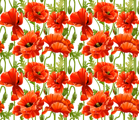 Big seamless pattern of red poppies realistic Stock Vector - 23149066