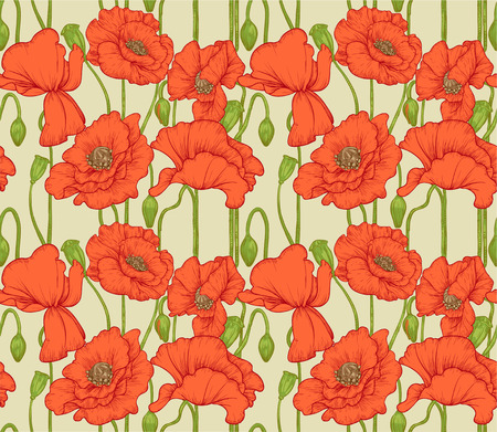 Big seamless pattern of red poppies Stock Vector - 23149069