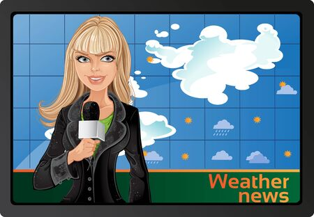 tv reporter: Blond girl and weather news